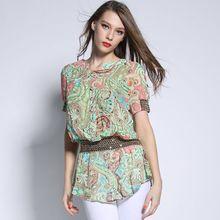 2015 estilo verão mulheres de manga curta blusa Vintange flor impressão Elástico Na cintura plus size mulheres chiffon camisa 5XL 3XL(China (Mainland))