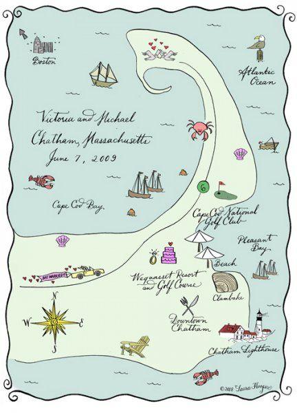 """""""Cape Cod"""" - Calligrapher Laura Hooper creates Custom Maps for Wedding Invitation Suites. Nice portfolio."""