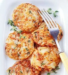 Yield: Makes 8 servings (16 potato cakes).    Ingredients:    1 pound russet or round red potatoes  1/2 of a medium onion, very thinly sliced  1 tablespoon olive oil  2 teaspoons snipped fresh thyme or 1/4 teaspoon dried thyme, crushed  1/4 teaspoon salt  1/8 teaspoon ground black