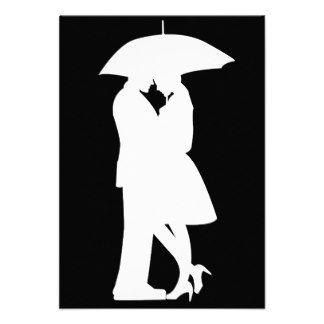 Romantic Umbrellas Silhouettes   Romantic Silhouette Couple Personalized Invitations