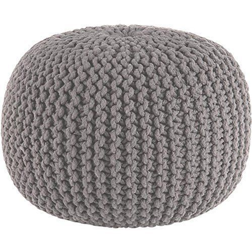 GREY CHUNKY KNIT KNITTED POUFFE FOOT STOOL CUSHION MOROCCAN POD
