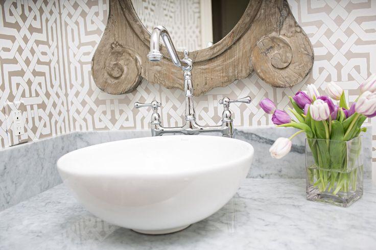 Marble Vessel Sink Bridge Faucet Schumacher Wallpaper