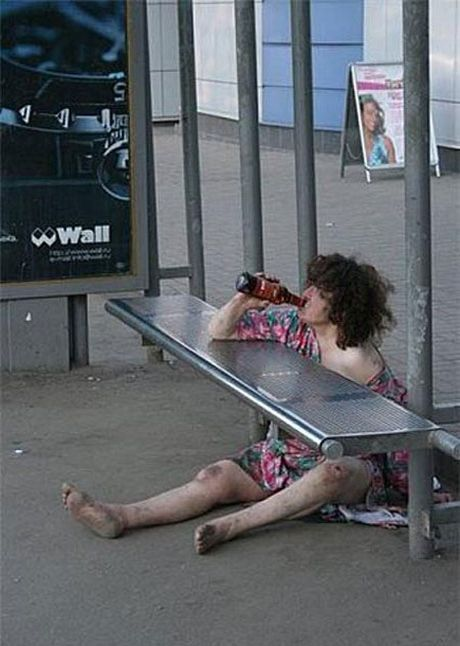 Drunk Lady | Funny Pictures - Drunken Homeless Lady.....this isn't funny...this is actually sad and disgusting at the same time.