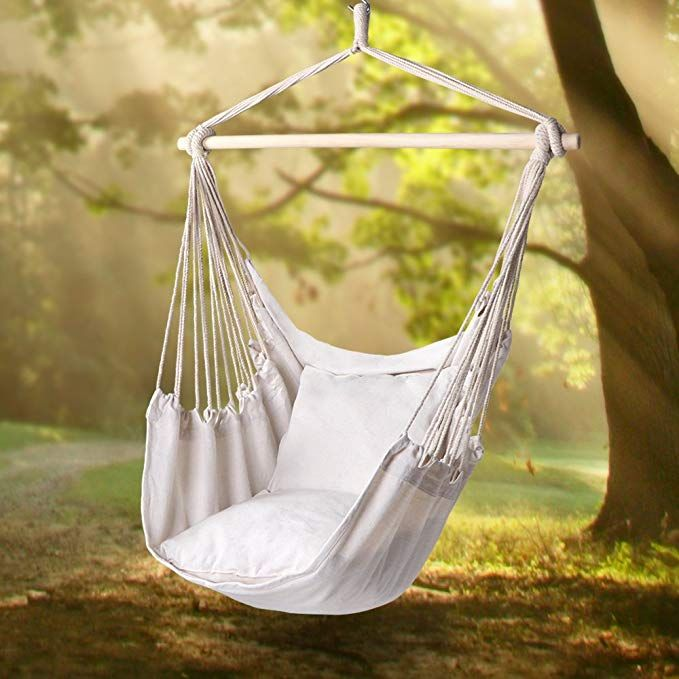 Amazon Com Y Stop Hammock Chair Hanging Rope Porch Swing Seat Quality Cotton Weave For Superior Comf Hammock Swing Chair Hammock Swing Hanging Hammock Chair