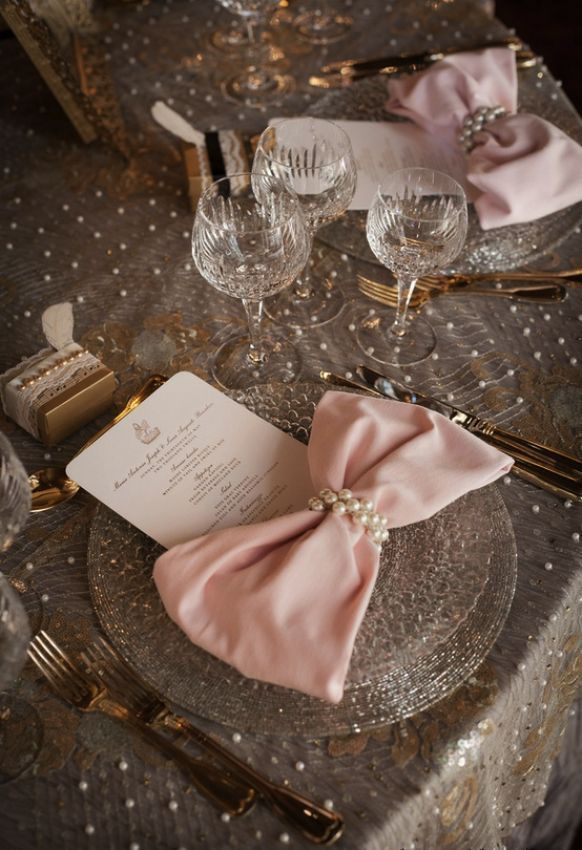 Pink Bow Tie Napkins, Lace and Pearl Tablecloth, and Pearl Napkin Rings Wedding Centerpiece