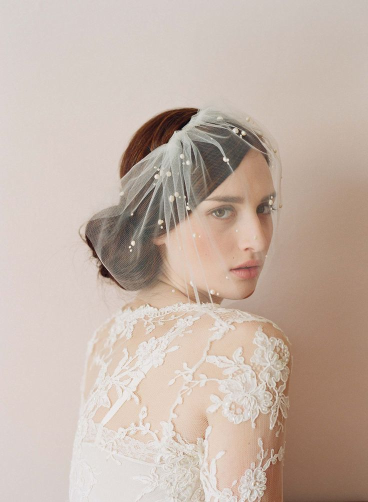 Bridal tulle veil with pearl beads - Mini tulle veil with pearls - Style 212 - Ready to Ship. $150.00, via Etsy.