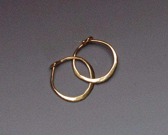 Solid Gold Hoops, Tiny 14k Gold Hoop Earings, 10 mm Gold Hoop Earrings, 14 karat Yellow Gold Sleepers, Hammered Hoops, Small Gold Hoops 1cm