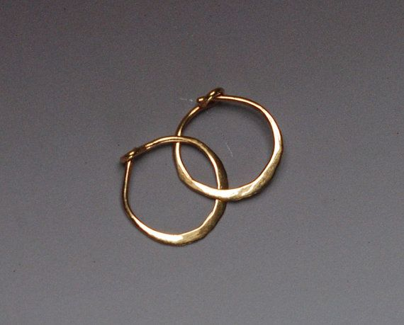 Solid Gold Hoops, Tiny 14k Gold Hoop Earings, 10 mm Gold Hoop Earrings, 14 karat Yellow Gold Sleepers, Hammered Hoops, Small Gold Hoops 1cm