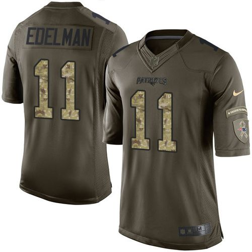 Nike Limited Julian Edelman Green Men's Jersey - New England Patriots #11 NFL Salute to Service
