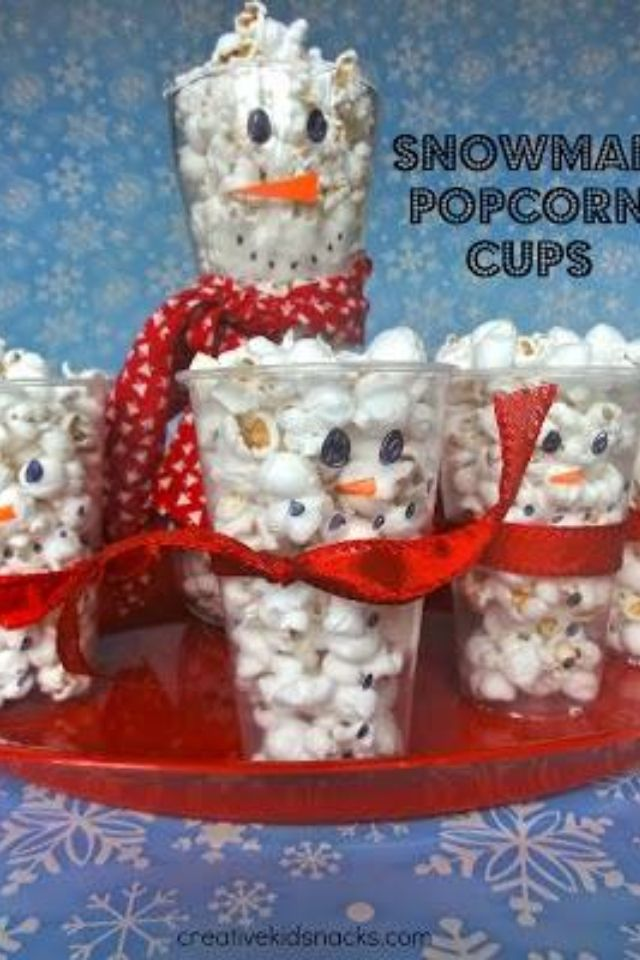 Snowman Popcorn Snacks! Movie Day!