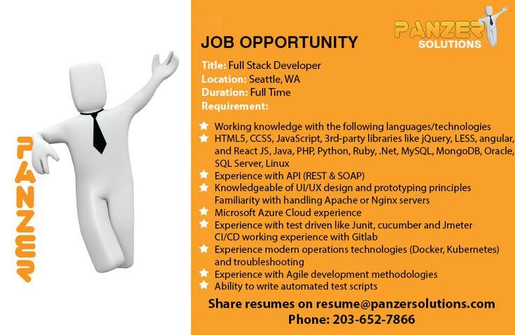 Full Stack Developer in 2020 Job opportunities, Business