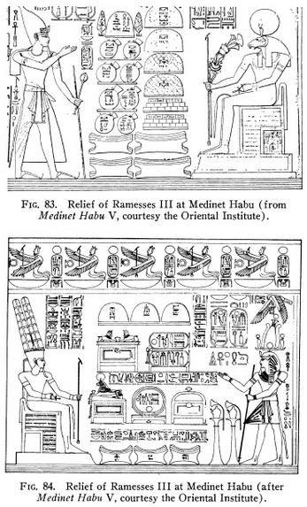 Figura 2. Ramesses III presenta offerte ad Amun-Re, tra cui lingotti oxhide (da 1). (Si veda anche il disegno su: Scott M. Peters Senior Thesis, Department of History Columbia College, Columbia University, 2011, Decoding the Medinet Habu Inscriptions: The Ideological Subtext of Ramesses III's War Accounts, pg 50, fig. 12). segue nel primo commento