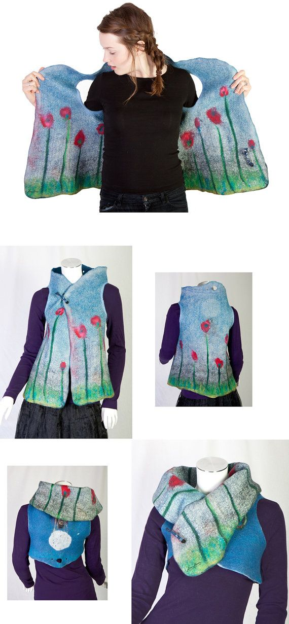 Reversible merino wool women vest hand felted by ArianeMariane