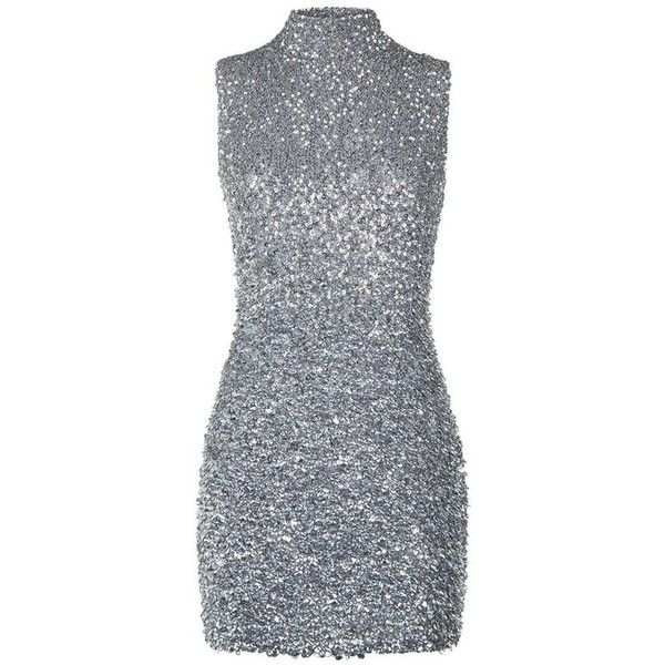 Harrods of London Sequin High Neck Mini Dress (3.685 RON) ❤ liked on Polyvore featuring dresses, short sparkly dresses, silver cocktail dress, sequined dresses, silver sparkly dress and sequin cocktail dresses