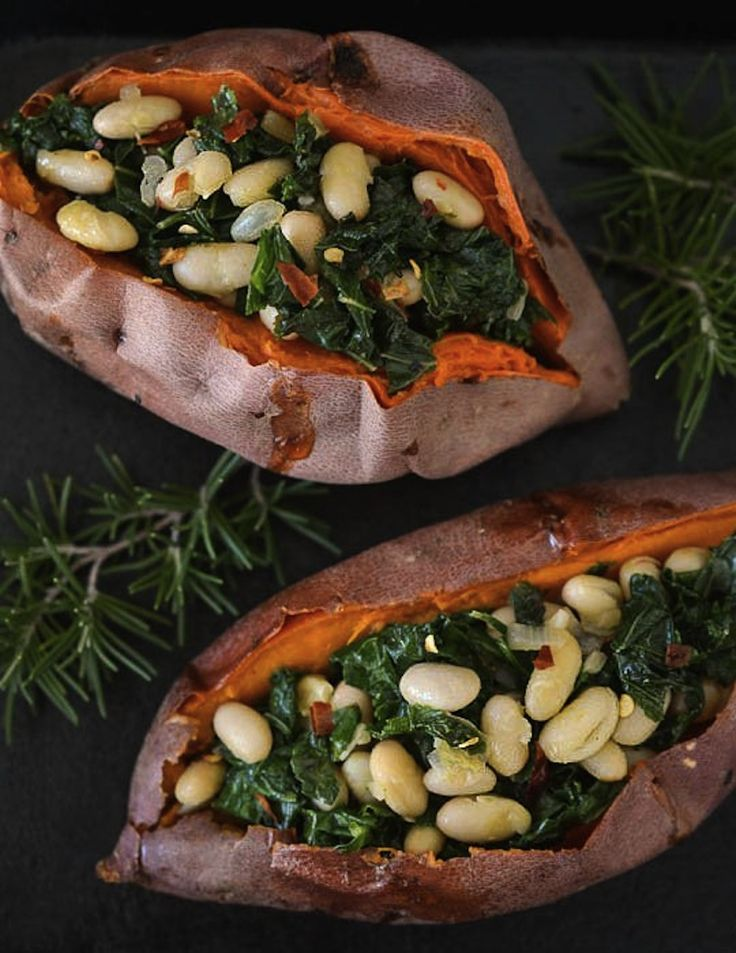 Stuff sweet potatoes with white beans and kale.