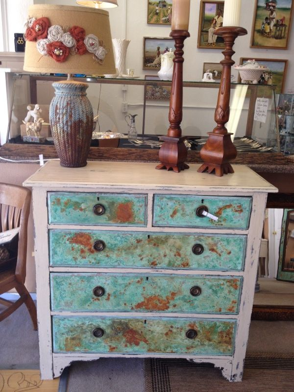 Chest Of Drawers With Our Signature Finish Of Copper/Rust Patina And Chalk  Paint®