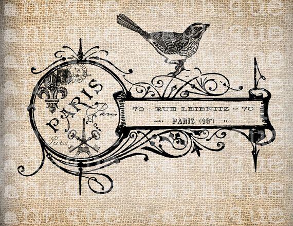 Antique French Key Shop Label Bird Paris Illustration $1.00 at Antique Graphique - Etsy....Love their graphics!!! <3                                   Antique French Key Shop Label Bird Paris Illustration