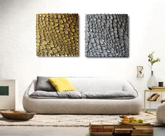 Set of 2 Large Wall Sculptures  Square Wall Decor  by JeemadoDecor