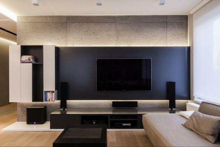 Znalezione obrazy dla zapytania telewizor na ścianie beton