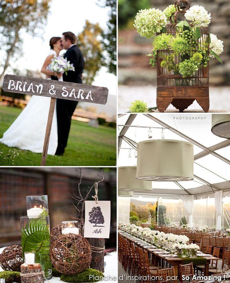 Décoration mariage champêtre, idées rustiques : fougère, vert anis, taupe, boule rotin, marron chocolat - Deco florale, mousse