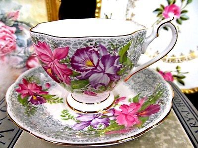 QUEEN ANNE TEA CUP AND SAUCER NOTTINGHAM LACE ORCHIDS PATTERN TEACUP