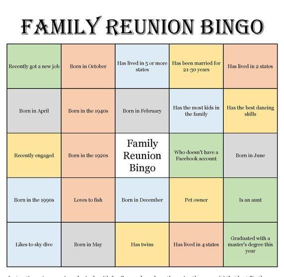 Family Reunion Bingo Cards Mix Mingle Style Bingo Etsy Family Reunion Bingo Family Reunion Bingo