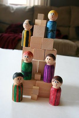 tower of babel - love this one as godly play.  Great idea to make these people to keep with the blocks.