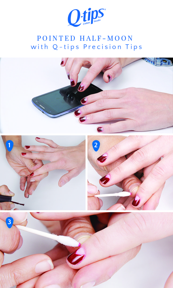 Follow our steps for this twist on the traditional half-moon mani: 1.