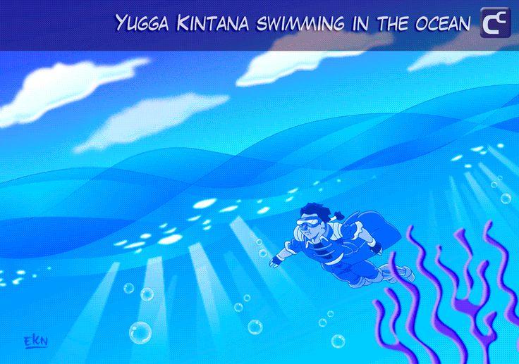 WALLPAPER: Yugga Kintana nadando en el oceano [Color Digital] por EKN
