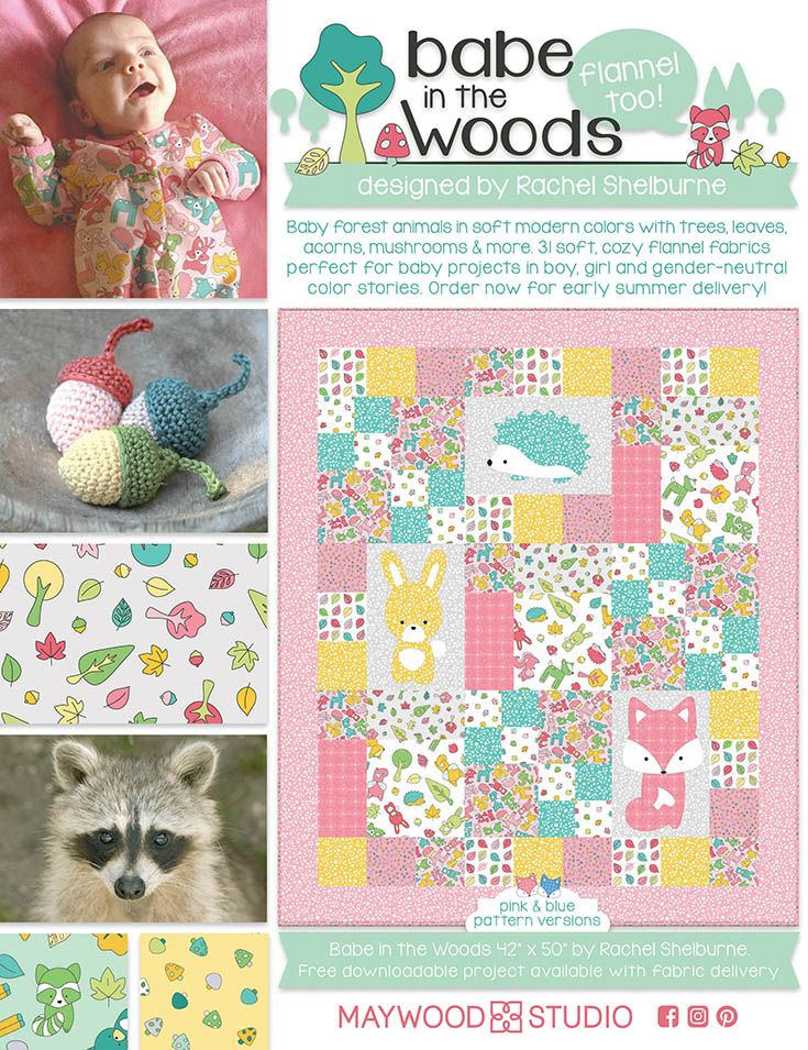 Babe in the Woods Flannel in American Quilt Retailer, Feb. 2017 issue. Look for the free pattern on maywoodstudio.com in June!