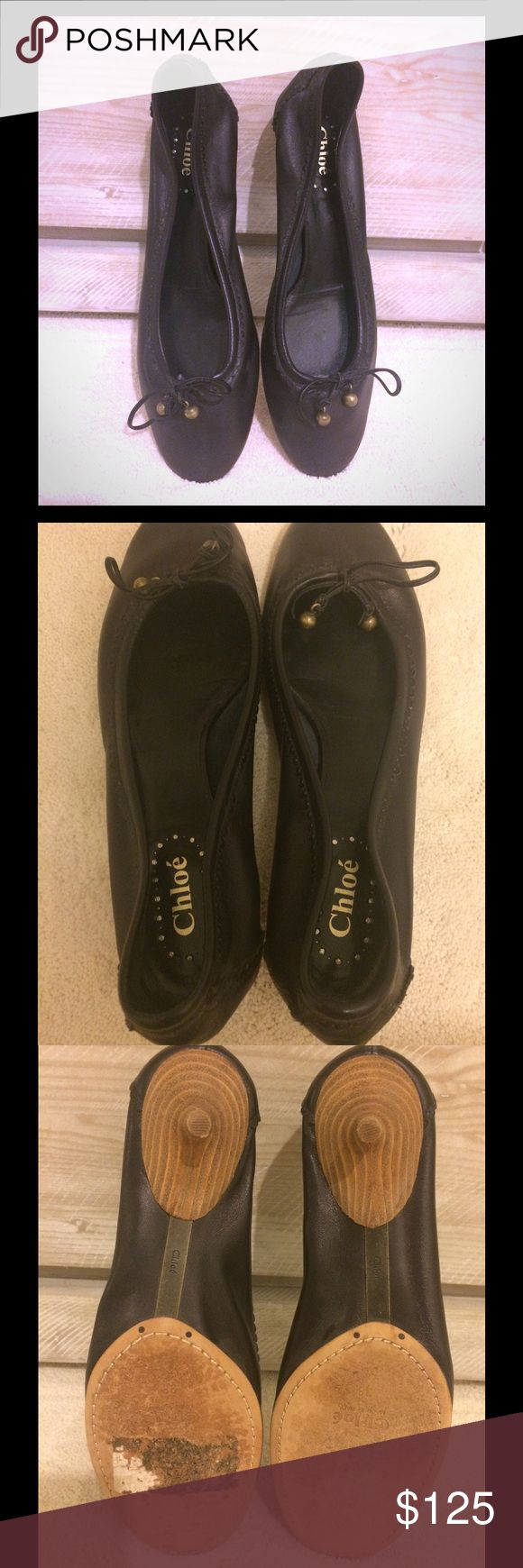 Chloe Lambskin Kitten Heels Softest leather ever. Chloe black lambskin ballet slippers with the slightest kitten heel to add a bit of formality. Incredibly comfortable & versatile. From the mid 2000s. Worn once (a bit too big) Excellent condition. These will fit a larger 7 1/2-8. Chloe Shoes