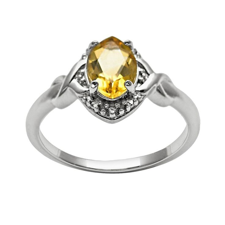 Sterling Silver Citrine and Diamond Accent Marquise Halo Ring, Women's, Size: 6, Orange