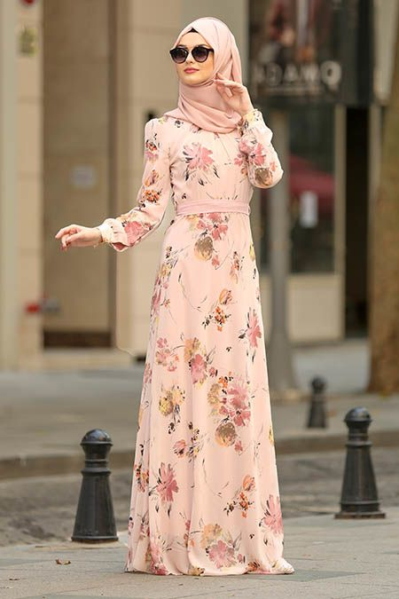 b4c4c89d41380 Nayla Collection - Çiçek Desenli Pudra Tesettür Elbise 81539PD #tesettur  #tesetturgiyim #moda #