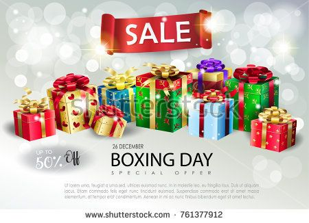 Boxing Day Sale poster. Gift Boxes for Christmas and New Year Winter Holiday, celebrate, beautiful gift boxes with satin ribbon on bokeh lights defocus silver sparkles background, present group vector