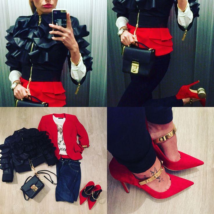 @versace shoes/@mangano Jacket/ @trussardijeans Bag