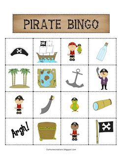 Free printable pirate bingo game.