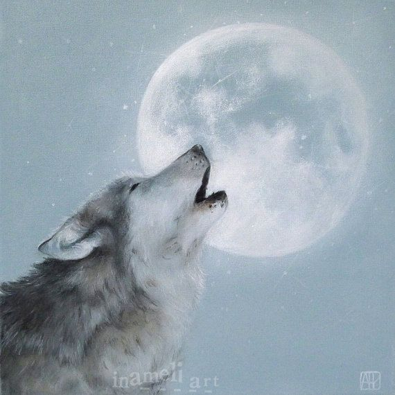 """Fine Art Print of an Original Animal Painting """"Time of the moon """" wolf animal art by inameliart"""