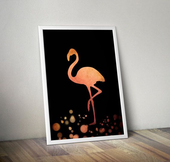 Flamingo in rose gold hues on black background- decorative digital printable wall art - ready to frame  This is a digital file that you can download