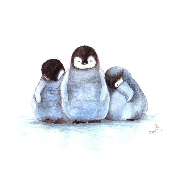 Penguin Art Nursery Art Sleepy Penguins Baby Penguins by TinyRed, £7.99