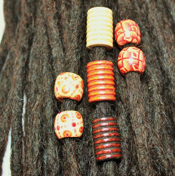 7 assorted wood beads for dreadlocks - dreadlock accessory - dread jewelry