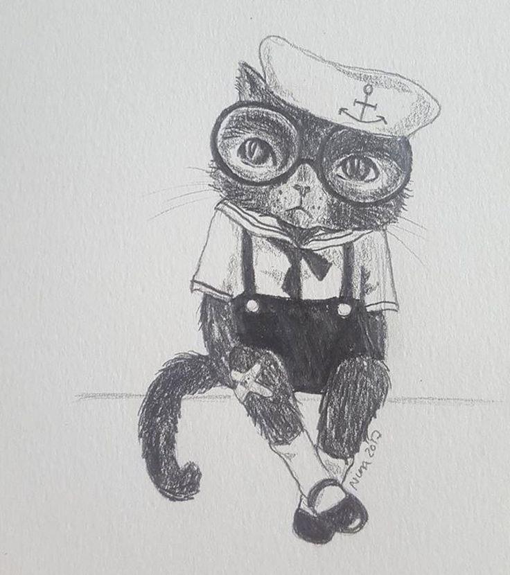 #Repost @drawnbynina  Tack för all utställningspepp!  Hoppas på att komma igång när den här evighetslånga dödsinfluensan släpper taget. Passar på att rita en sur katt så länge. #surkatt #surkart #doodle #cat #sourpuss