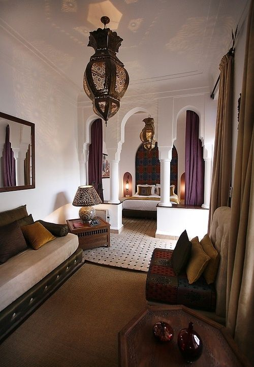 51 Inspiring Moroccan Living Rooms : 51 Relaxing Moroccan Living Rooms With White Brown Purple Wall Chandelier Sofa Pillow Carpet Curtain Table Lamp And Bed Pillow Blanket And Ceramic Floor