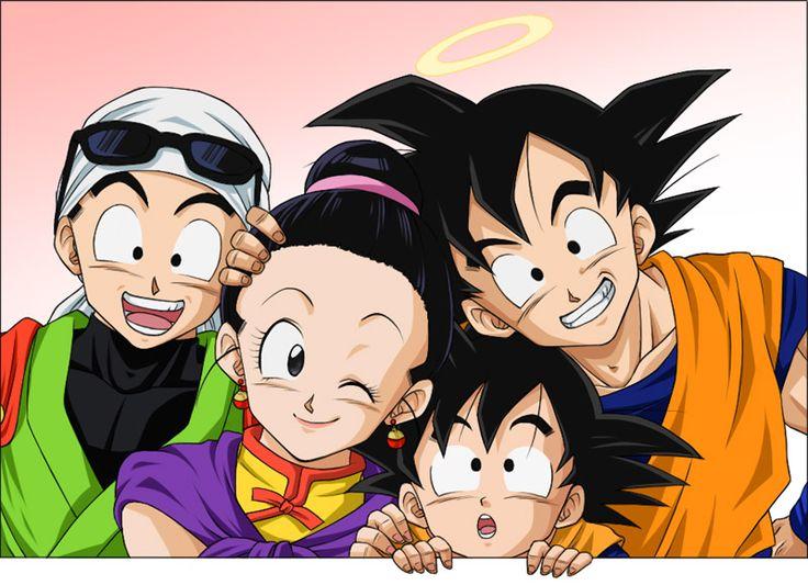 Goku, Chichi, Gohan, and Goten