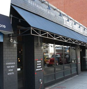 NYC Restaurant Signs   The Smith, Restaurant & Bar   stenciled logo and letters on brick facade