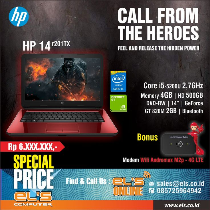 """Bonus Modem Wifi Andromax M2P - 4G LTE untuk pembelian Notebook HP 14-R201TX. Berikut untuk spesifikasi detailnya : HP 14-r201TX Graphic – RED Core i5-5200U – Up to 2,7GHz / Memory 2GB / HD 500GB / DVD-RW / 14"""" / GeForce GT 820M 2GB / Bluetooth – Red. Untuk informasi dan pemesanan bisa cek link berikut http://www.els.co.id/shop/hp-14-r201tx-graphic-red"""