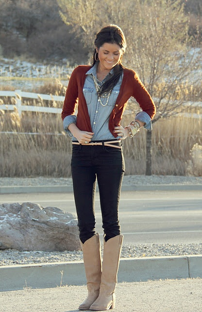 Fall: Cardigans, Jeans Shirts, Style, Fall Wint, Chambray Shirts, Denim Shirts, Fall Looks, Fall Outfits, Boots