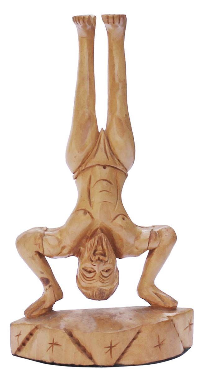 "Bulk Wholesale Hand-Carved 6"" Wooden Statue of 'Yoga Guru Doing Yoga Asan'– Ethnic-Look Statues from India"