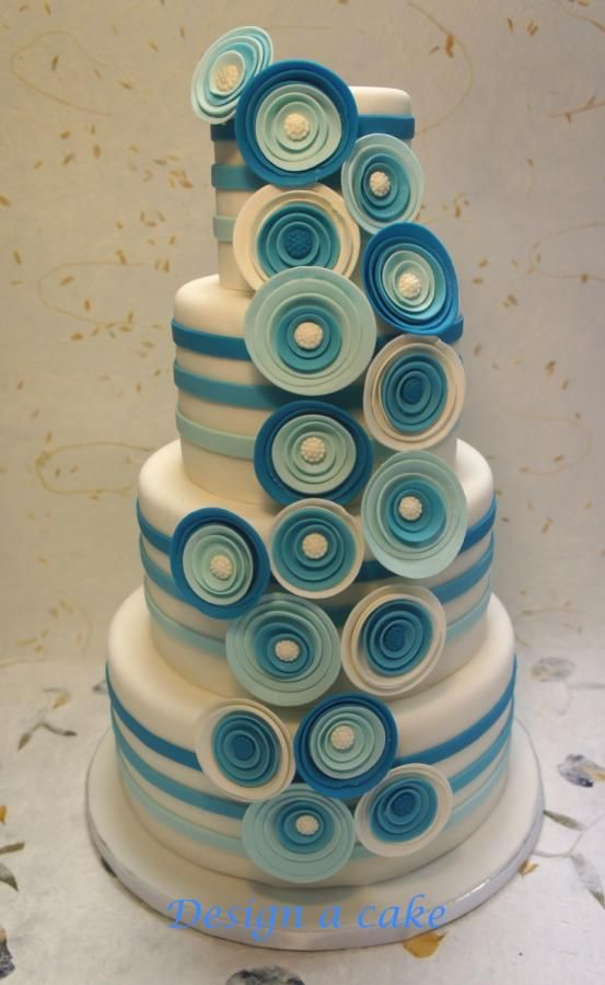 Blue flower wedding cake by Alessandra - http://cakesdecor.com/cakes/231416-blue-flower-wedding-cake