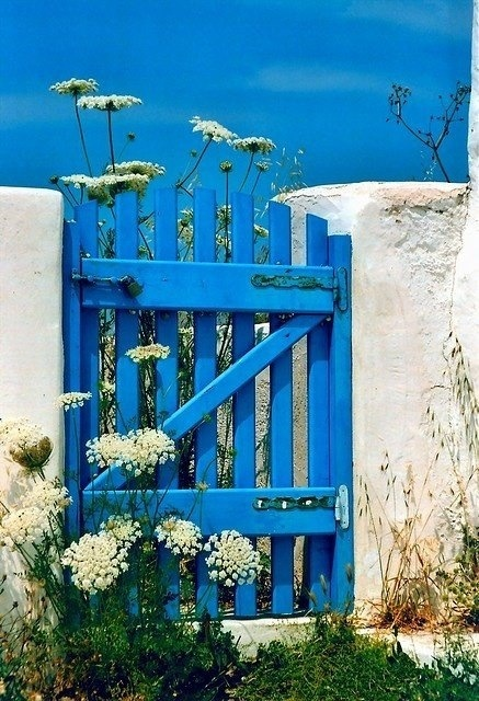 Greece-- painting my white gate blue over the summer