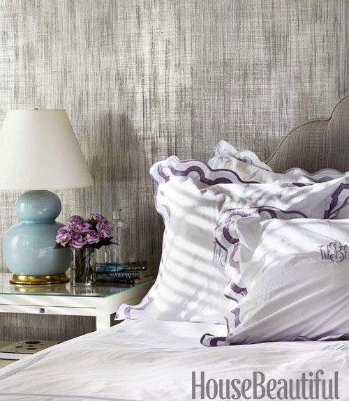 A Studio E metallic wallcovering, Inge, gives the master bedroom walls a silvery luminosity.   Interior Design Color Ideas - Colorful Room Decorating Ideas - House Beautiful